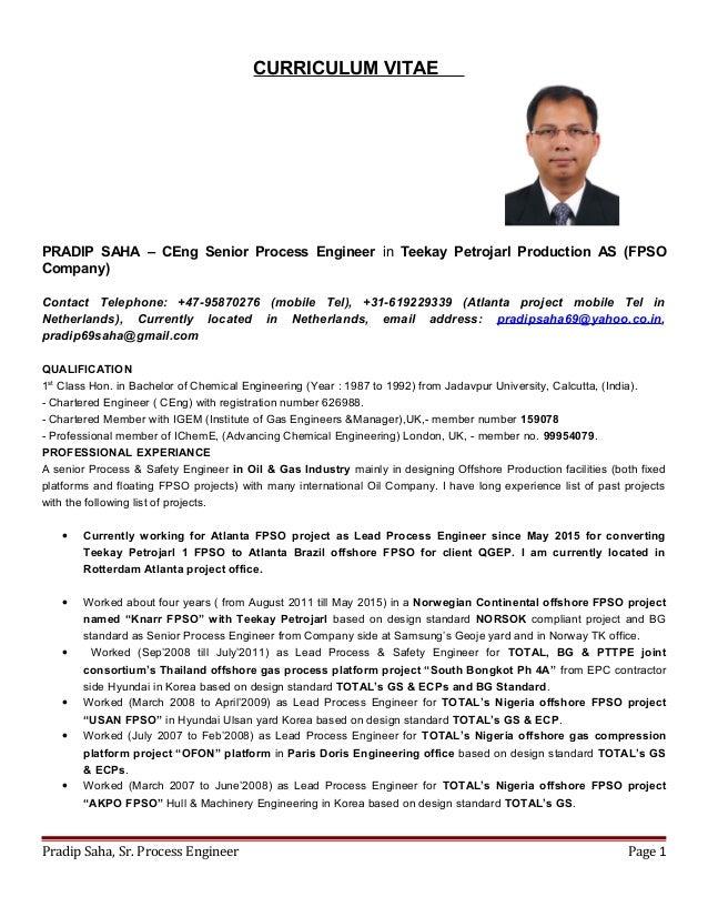 cv of pradip saha ceng migem senior process engineer 2015
