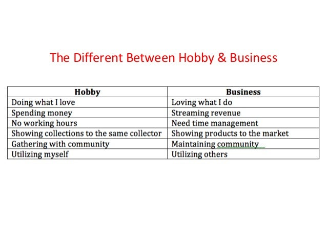 The Different Between Hobby & Business