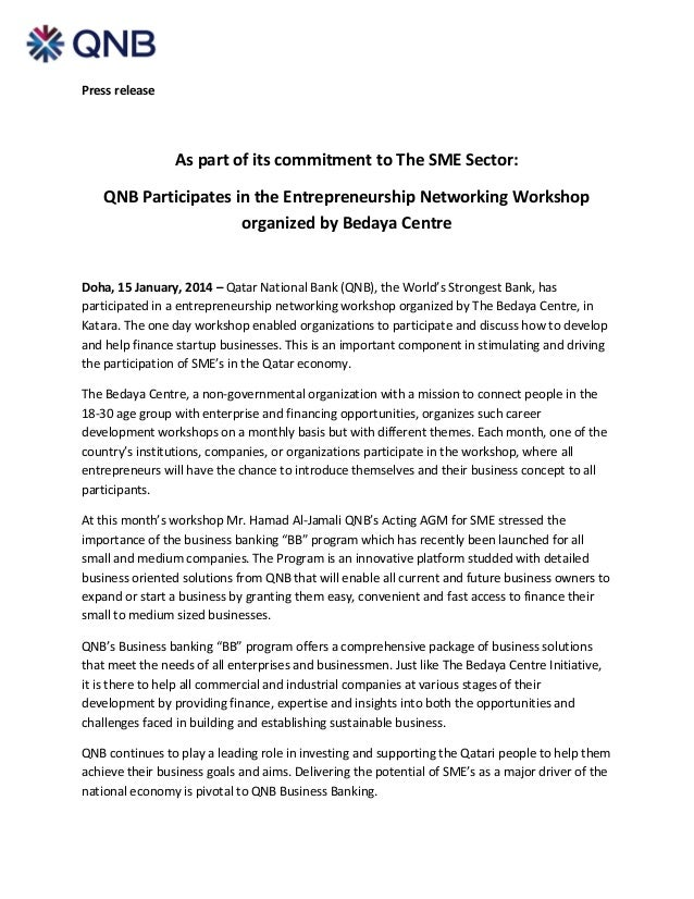Press  release       As  part  of  its  commitment  to  The  SME  Sector:   QNB  Participates...