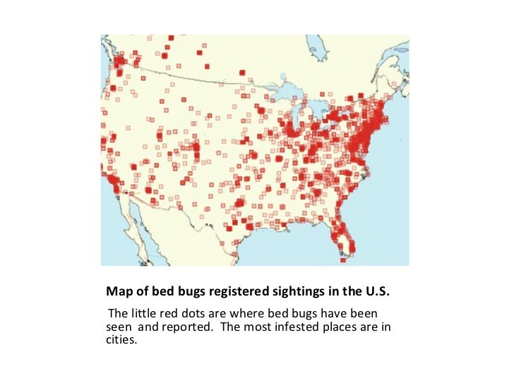 Bed Bugs - Map of bed bug infestation in us