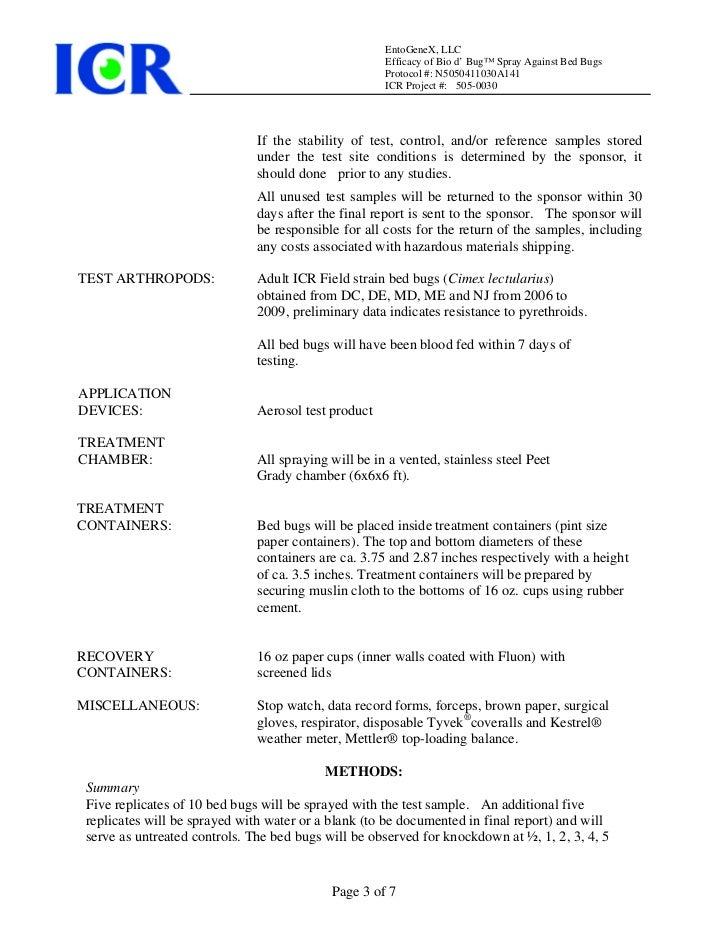 Bed bug testing   icr lab - 505-0030 protocol Slide 3
