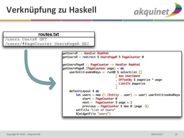 Verknüpfung zu HaskellCopyright © 2010 – akquinet AG   08.04.2013   23