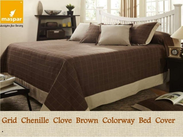 Grid Chenille Clove Brown Colorway Bed Cover .
