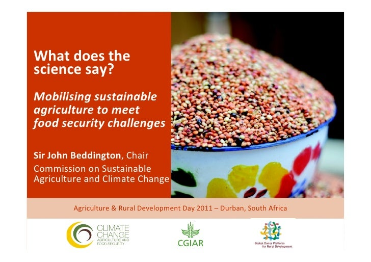 What does the science say?   Mobilising sustainable agriculture to meet  food security chall...