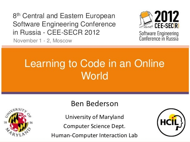 8th Central and Eastern EuropeanSoftware Engineering Conferencein Russia - CEE-SECR 2012November 1 - 2, Moscow    Learning...