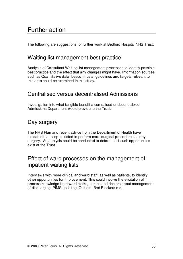 Bedford Hospital NHS Trust: Examining the Management of the Inpatient…