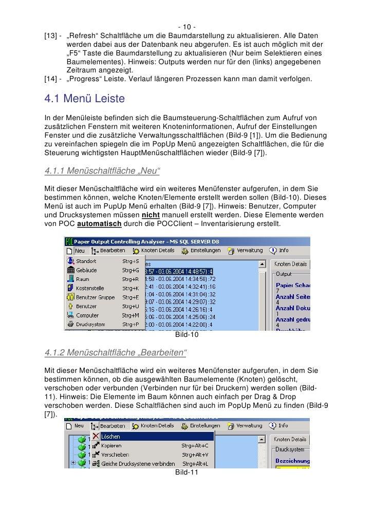 """- 10 - [13] - """"Refresh"""" Schaltfläche um die Baumdarstellung zu aktualisieren. Alle Daten        werden dabei aus der Daten..."""