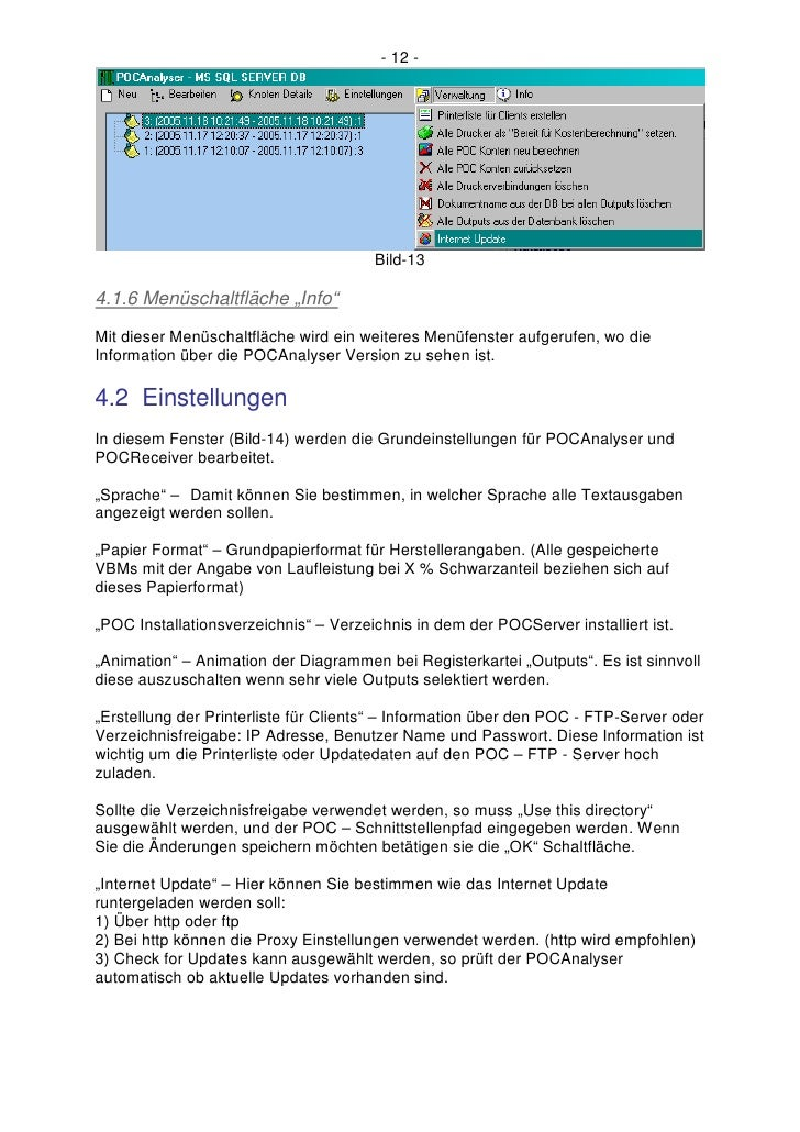 """- 12 -                                            Bild-13  4.1.6 Menüschaltfläche """"Info"""" Mit dieser Menüschaltfläche wird ..."""