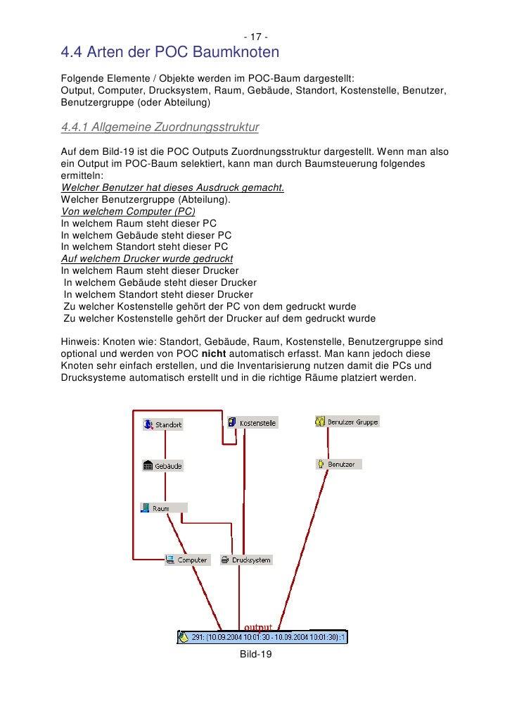 - 17 - 4.4 Arten der POC Baumknoten Folgende Elemente / Objekte werden im POC-Baum dargestellt: Output, Computer, Drucksys...