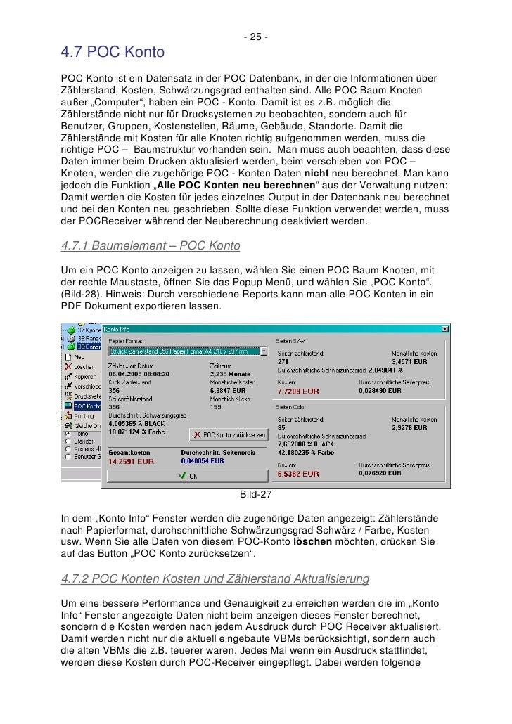 - 25 - 4.7 POC Konto POC Konto ist ein Datensatz in der POC Datenbank, in der die Informationen über Zählerstand, Kosten, ...