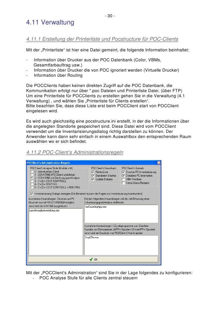 """- 30 - 4.11 Verwaltung  4.11.1 Erstellung der Printerliste und Pocstructure für POC-Clients Mit der """"Printerliste"""" ist hie..."""