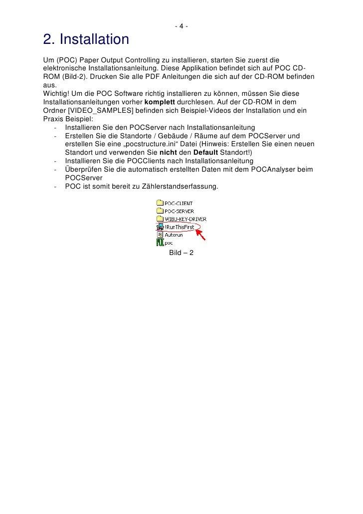 -4-  2. Installation Um (POC) Paper Output Controlling zu installieren, starten Sie zuerst die elektronische Installations...