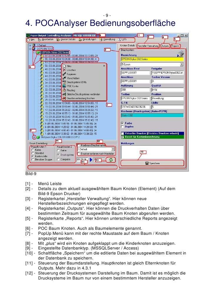 -9-  4. POCAnalyser Bedienungsoberfläche     Bild-9  [1] -  Menü Leiste [2] -  Details zu dem aktuell ausgewähltem Baum Kn...
