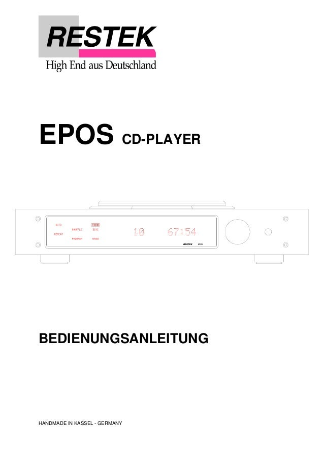 EPOS CD-PLAYER  BEDIENUNGSANLEITUNG  HANDMADE IN KASSEL - GERMANY