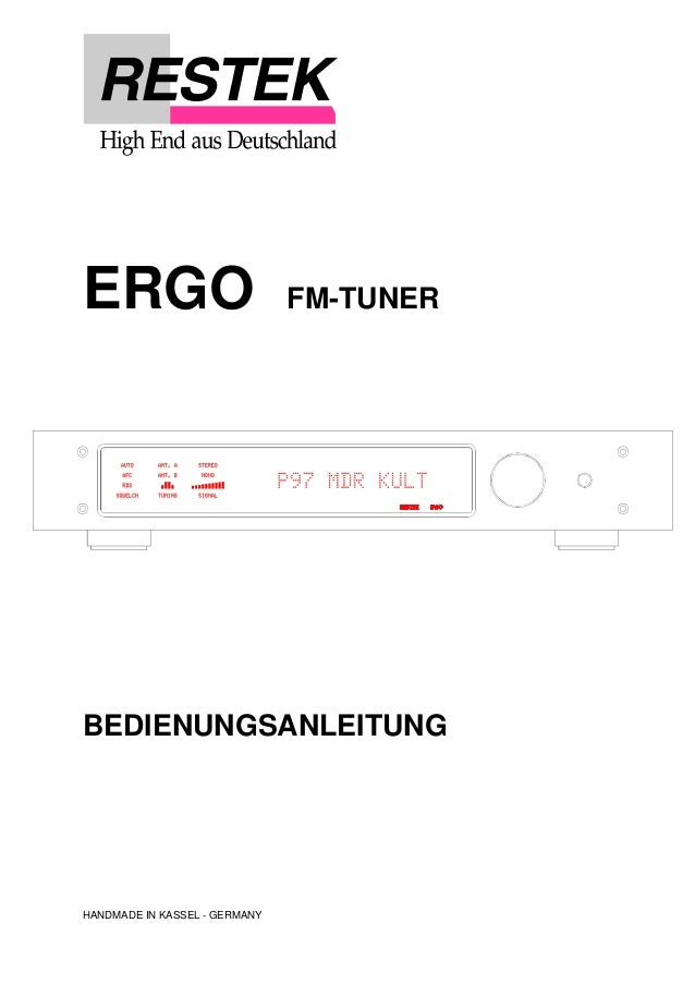 ERGO FM-TUNER BEDIENUNGSANLEITUNG HANDMADE IN KASSEL - GERMANY