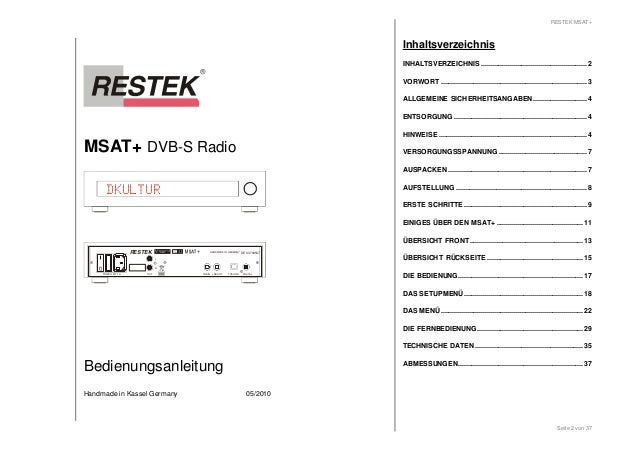 MSAT+ DVB-S Radio  HANDMADE IN GERMANY DE 63702507  DKULTUR  POWER MT 1A LNBOUT  LNBIN DIGITAL  RESTEK  L  OUT  R  Bedienu...