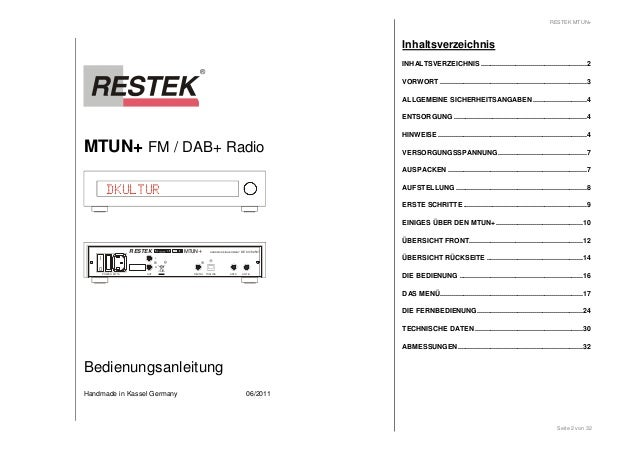 MTUN+ FM / DAB+ Radio  DKULTUR  I  0  RESTEK MTUN+  HANDMADE IN GERMANY DE 63702507  DIGITAL TOSLINK  ANT A  L  POWER MT 1...