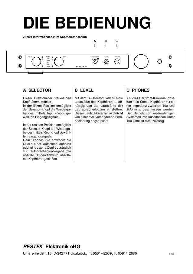 DIE BEDIENUNG A SELECTOR Dieser Drehschalter steuert den Kopfhörerverstärker. In der linken Position ermöglicht der Select...