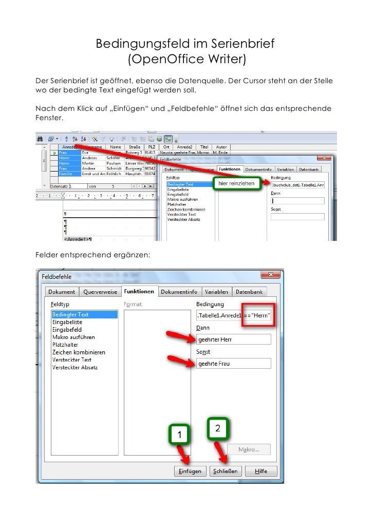 Bedingungsfeld im Serienbrief                      (OpenOffice Writer) Der Serienbrief ist geöffnet, ebenso die Datenquell...