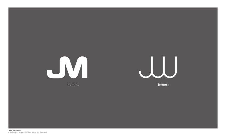 homme   femmeJM + JW IdentitéCréation des marques JM (hommes) et JW (femmes).