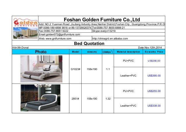 Bed Quotation With Ex Works Price 1