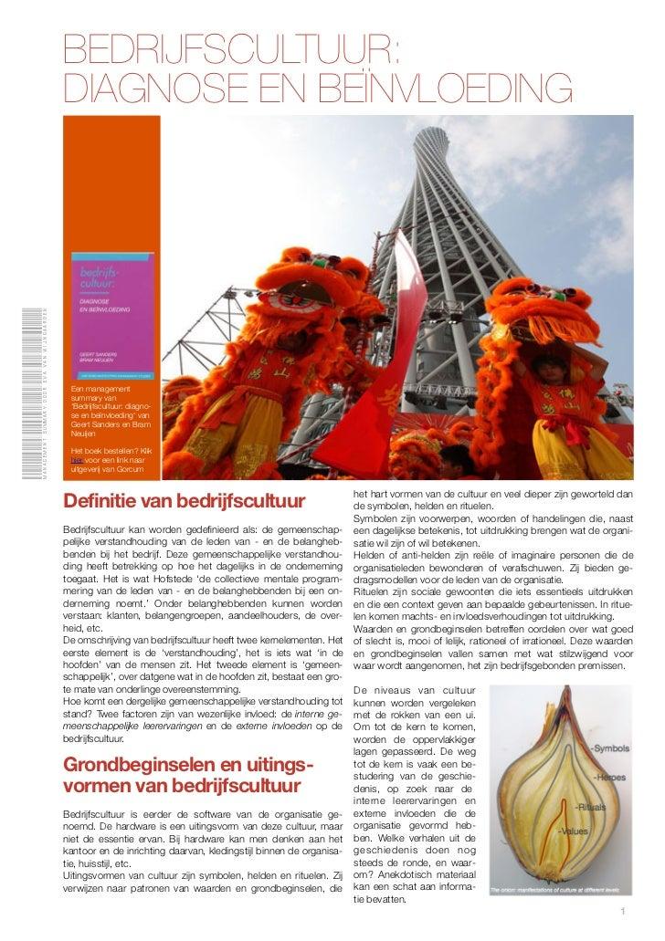 BEDRIJFSCULTUUR:                                              DIAGNOSE EN BEÏNVLOEDINGManagement summary door Eva van Wijn...