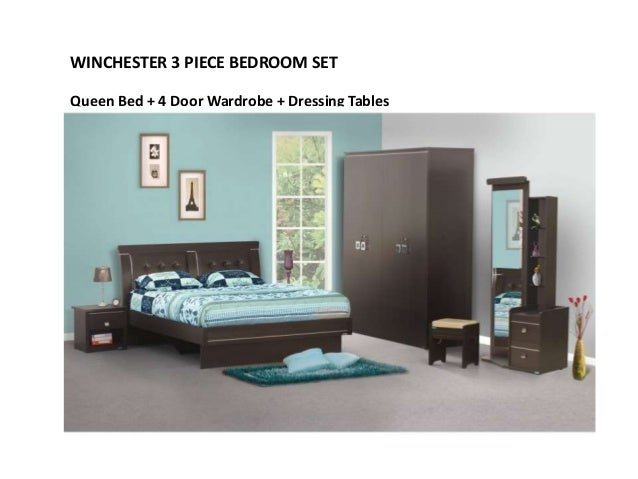 SABRINA 4 PIECE BEDROOM SET Queen Bed + 3 Door Wardrobe + Dressing Table +  Night Stand; 10.