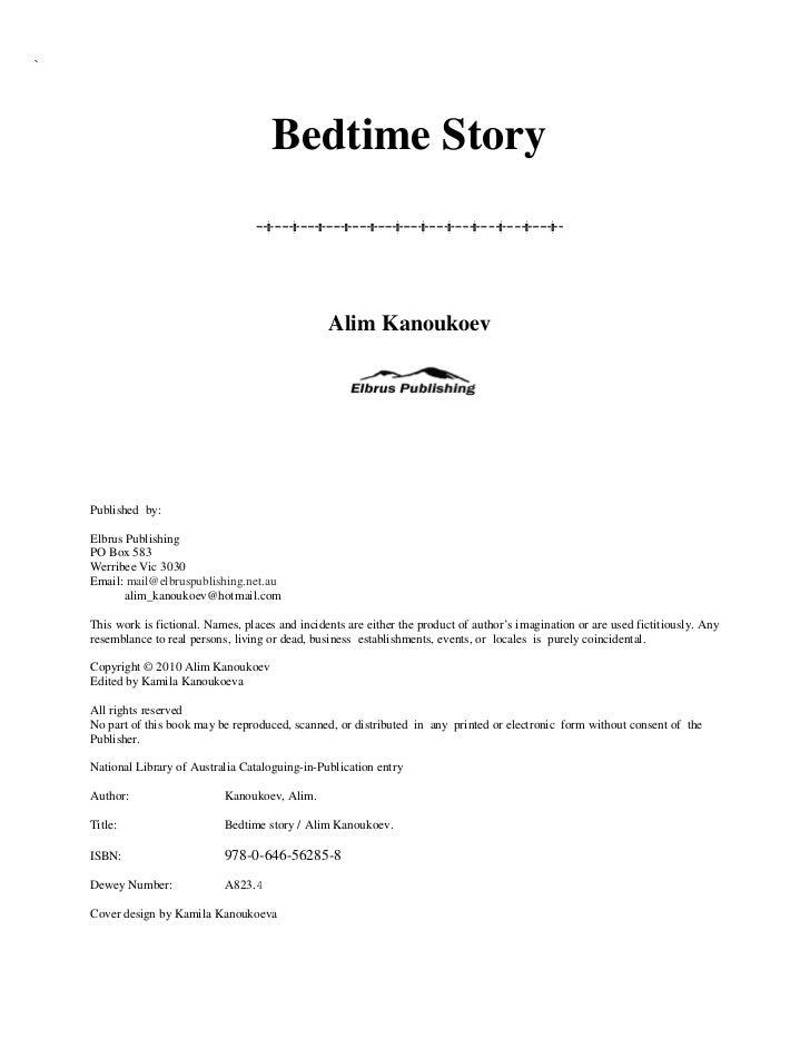 `                                        Bedtime Story                                                    Alim Kanoukoev  ...