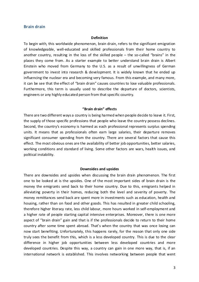 An Essay On Brain Drain  English Learning Essay also First Day Of High School Essay  The Yellow Wallpaper Critical Essay