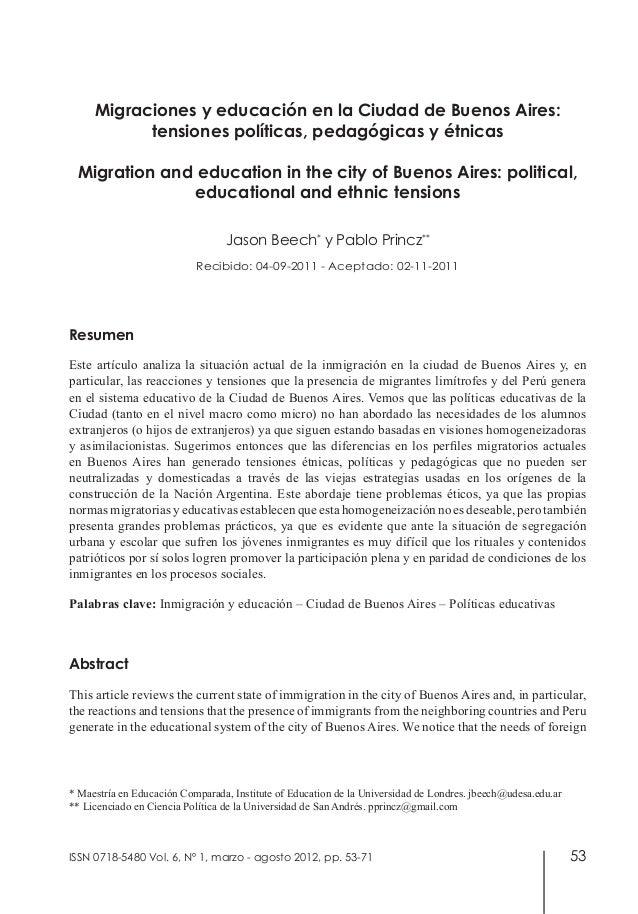 53Migraciones y educación en la Ciudad de Buenos Aires:tensiones políticas, pedagógicas y étnicasMigration and education i...