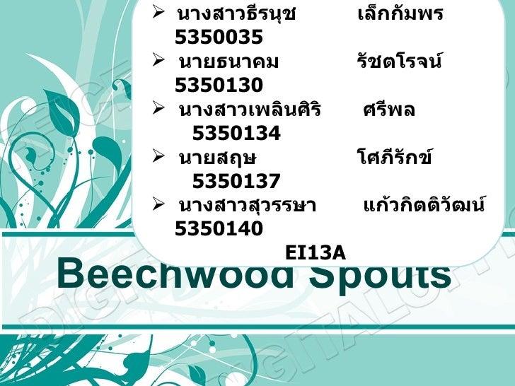 Beechwood Spouts <ul><li>PRESENTED  BY </li></ul><ul><li>นางสาวธีรนุช  เล็กกัมพร  5350035 </li></ul><ul><li>นายธนาคม   รัช...