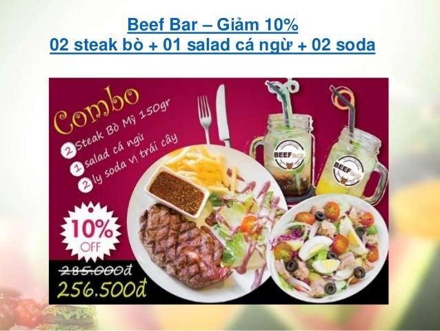 Beef Bar – Giảm 10% 02 steak bò + 01 salad cá ngừ + 02 soda