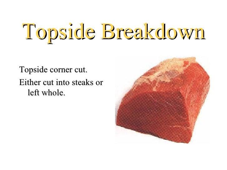 Topside BreakdownTopside corner cut.Either cut into steaks or  left whole.