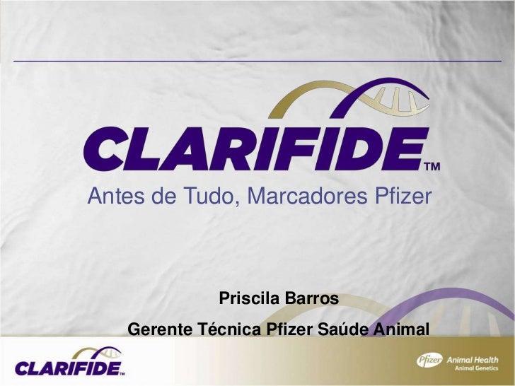 Antes de Tudo, Marcadores Pfizer             Priscila Barros   Gerente Técnica Pfizer Saúde Animal