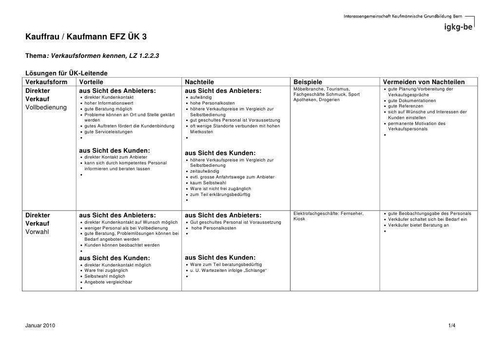 Kauffrau / Kaufmann EFZ ÜK 3  Thema: Verkaufsformen kennen, LZ 1.2.2.3  Lösungen für ÜK-Leitende Verkaufsform   Vorteile  ...