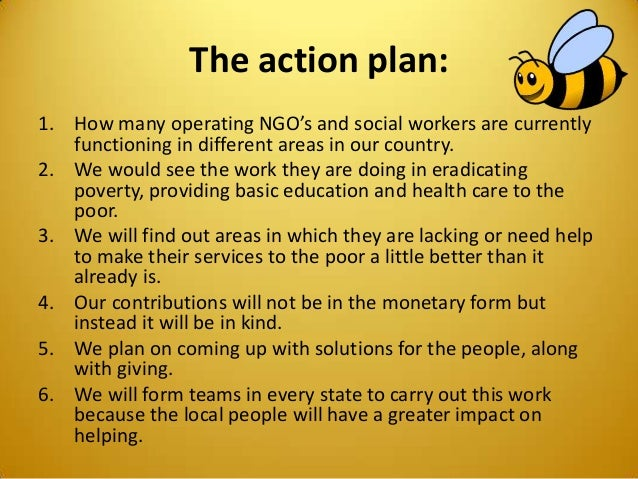 The action plan: 1. How many operating NGO's and social workers are currently functioning in different areas in our countr...