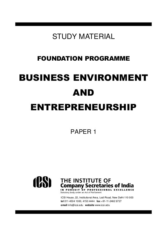 CS Foundation- Business Environment, Entrepreneurship & Law