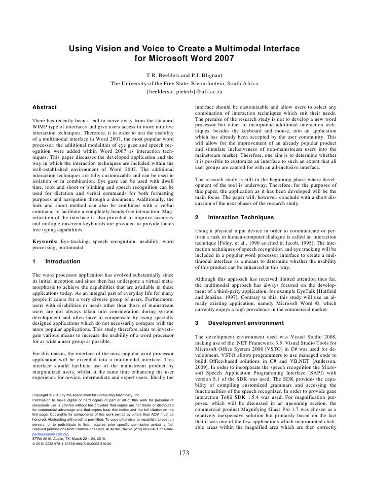 Using Vision and Voice to Create a Multimodal Interface                                       for Microsoft Word 2007     ...