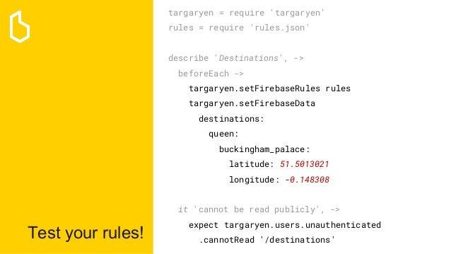 Test your rules! targaryen = require 'targaryen' rules = require 'rules.json' describe 'Destinations', -> beforeEach -> ta...