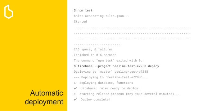 Automatic deployment $ npm test bolt: Generating rules.json... Started ......................................................