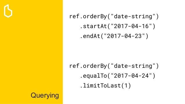 "Querying ref.orderBy(""date-string"") .startAt(""2017-04-16"") .endAt(""2017-04-23"") ref.orderBy(""date-string"") .equalTo(""2017-..."