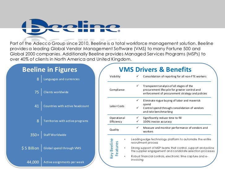 Part of the Adecco Group since 2010, Beeline is a total workforce management solution. Beeline provides a leading Global V...