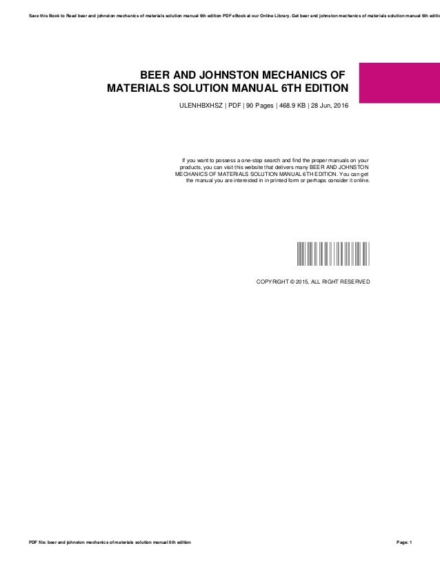 Beer and johnston mechanics of materials solution manual 6th edition beer and johnston mechanics of materials solution manual 6th edition ulenhbxhsz pdf 90 pages fandeluxe Image collections