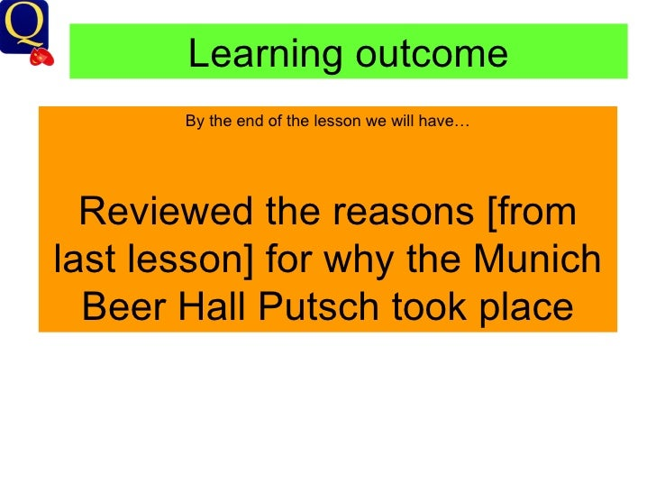 Learning outcome By the end of the lesson we will have… Reviewed the reasons [from last lesson] for why the Munich Beer Ha...