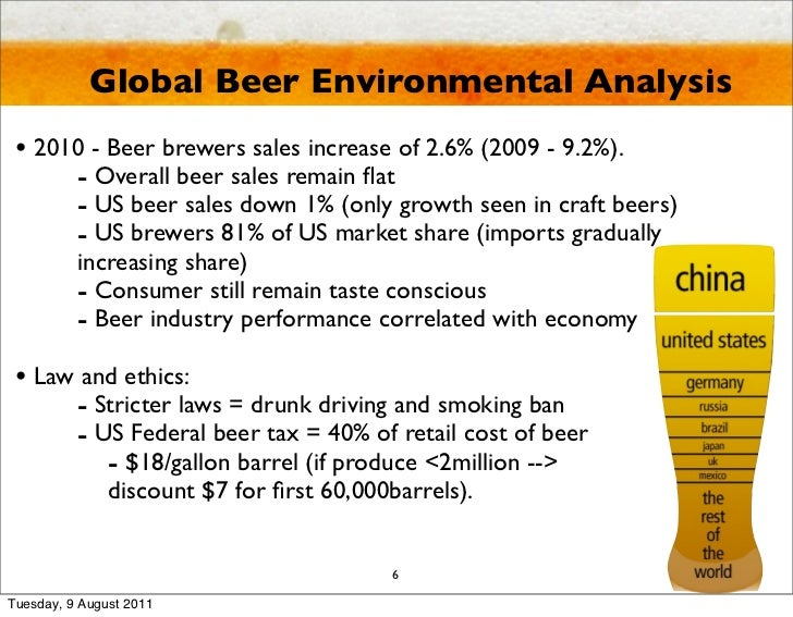 political analysis of the beer industry Global beer industry one of the major industry within the alcoholic beverage sector is the beer industry standard lager represents the leading market segment, accounting for more than 55% of the overall market.