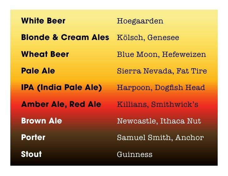 White Beer             Hoegaarden  Blonde & Cream Ales Kölsch, Genesee  Wheat Beer             Blue Moon, Hefeweizen  Pale...