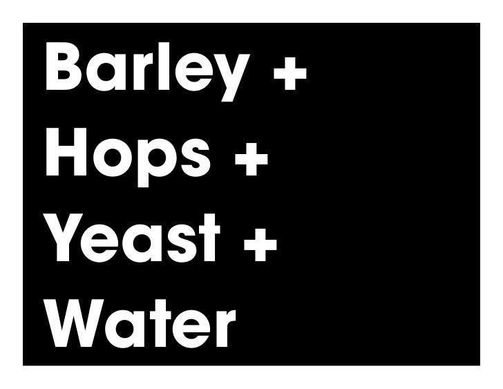 Barley + Hops + Yeast + Water