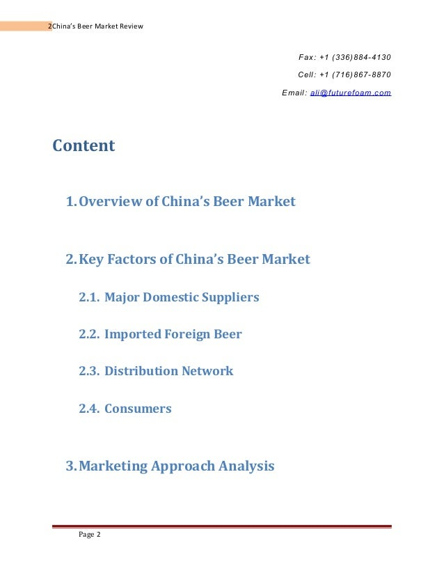 Sample Report of The Beer Project