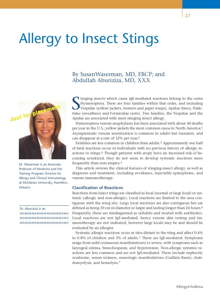 27    Allergy to Insect Stings                                        By SusanWaserman, MD, FRCP; and                     ...