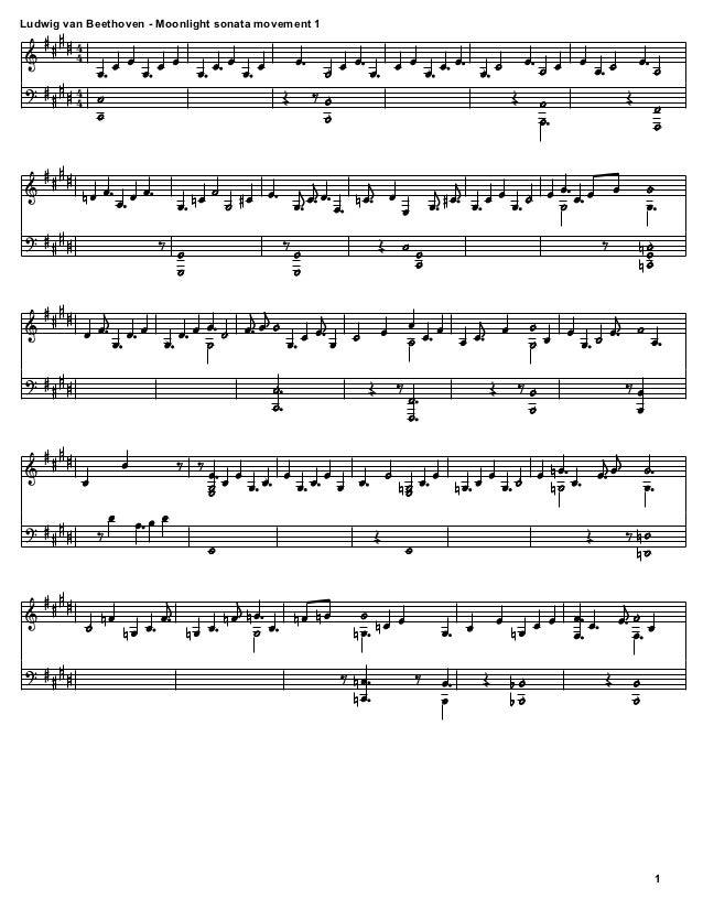 All Music Chords beethoven sheet music : Ludwig van Beethoven - Moonlight Sonata Movement 1 sheet music